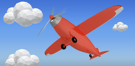 Red plane against bright blue sky 3d Stock Photo