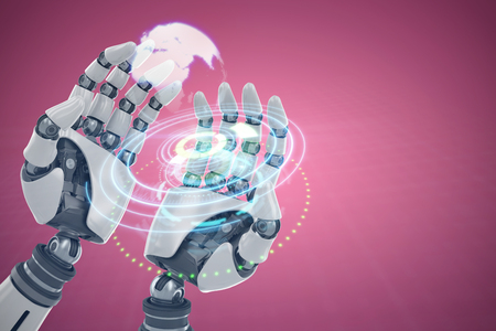Composite image of robotic hands against white background against digital image of earth over circular light trail 3d Stock Photo