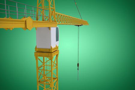 Studio Shoot of a crane  against green vignette
