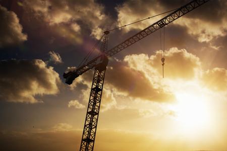 Studio Shoot of a crane  against cloudy sky landscape