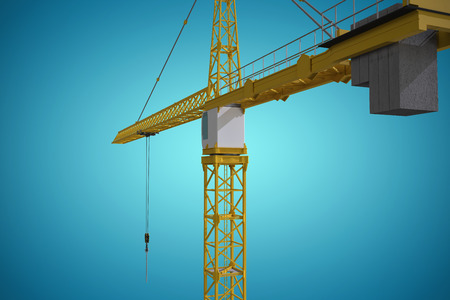 computer animation: Studio Shoot of a crane  against blue vignette background Stock Photo