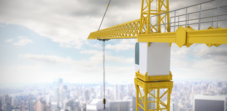 information medium: Studio Shoot of a crane  against high angle view of city Stock Photo