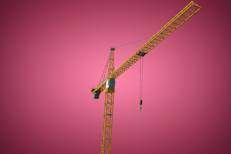 computer animation: Studio Shoot of a crane  against red and white background
