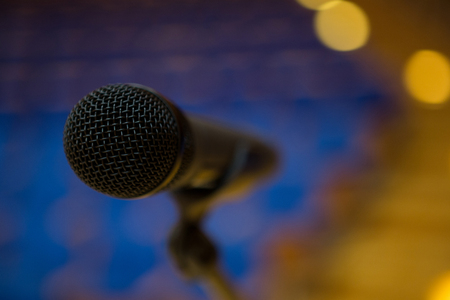 entertainment center: Close-up of microphone in conference room
