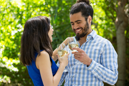 Cheerful young couple toasting wine glasses in park Stock Photo