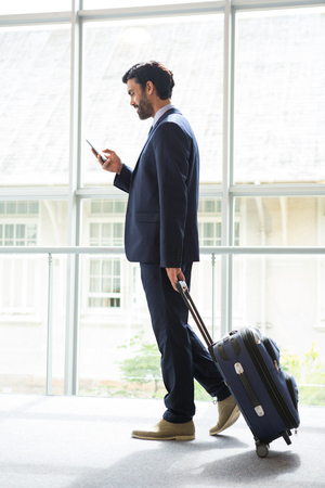 premises: Businessman with trolley bag using mobile phone at conference centre