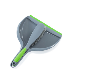 High angle view of brush with dustpan against white backgroound