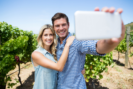 Happy couple taking selfie through mobile phone at vineyard against clear blue sky