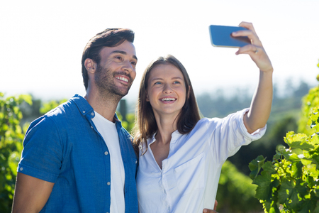 Smiling young couple taking selfie at vineyard during sunny day