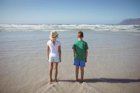Achtermening van siblings die zich op kust bij strand tijdens zonnige dag bevinden
