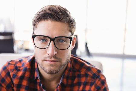 Close up portrait of businessman wearing eyeglasses