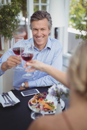 Happy couple toasting wine glass while having meal in restaurant