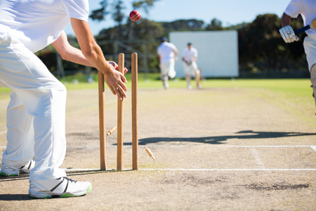 Wicket keeper hitting stumps during match on sunny day Stock Photo