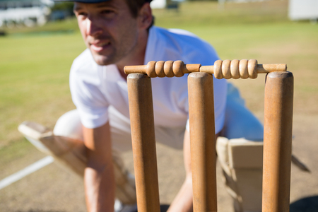 Close up of wicket keeper crouching by stumps during match on sunny day Stock Photo