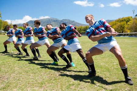 Full length of rugby players playing tug of war on grassy field against sky