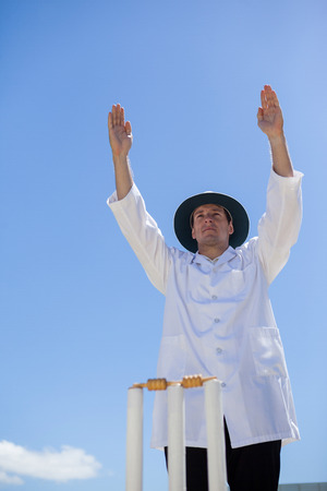 Low angle view of cricket umpire signalling six at match