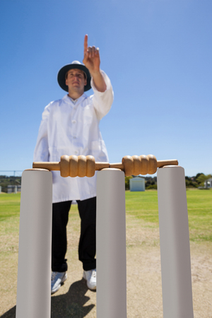 Full length of umpire signalling six while standing behind stumps against clear sky