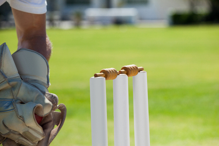 Cropped image of wicketkeeper catching ball behind stumps during sunny day