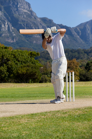 Cricket player playing on field during sunny day Stock Photo