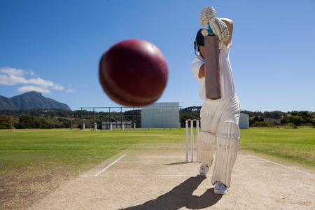 晴れた日に青空に対してピッチのクリケットの試合の打者の全長 写真素材