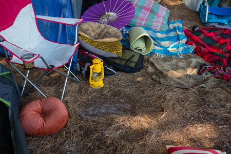 Camping equipments in the park on a sunny day Stock Photo