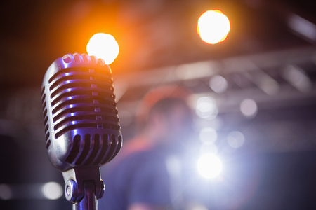 Close-up of retro microphone at a concert Stock Photo