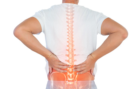 Digital composite of highlighted spine of man with back pain against white background