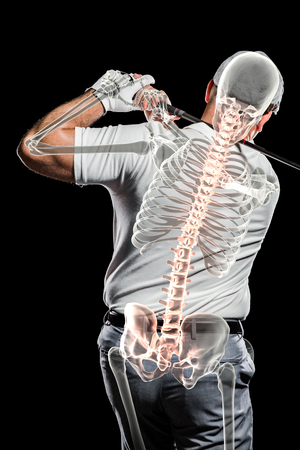 golfer swinging: Digitally composite image of golfer practicing against black background
