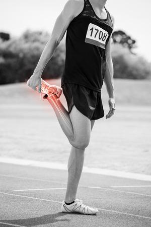Digital, compuesto, destacado, huesos, atleta, hombre, estirar, raza, pista Foto de archivo - 79269777