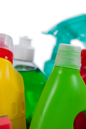 Close-up of various detergent bottles on white background Stock Photo