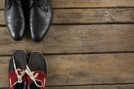 Overhead view of shoes on floor Stock Photo
