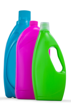 Various detergent containers arranged on white background