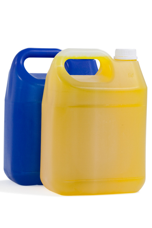 Two detergent containers arranged on white background