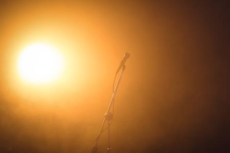 acoustics: Microphone in illuminated nightclub Stock Photo