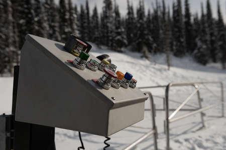Close -up of machine controller equipment in ski resort