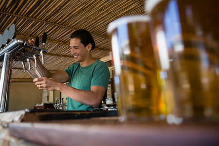 frothy: Close-up of beer glasses on counter with bartender working at restaurant