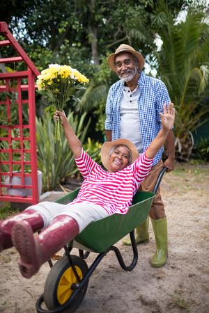 Hogere man dragende vrouw in kruiwagen terwijl het tuinieren bij werf Stockfoto