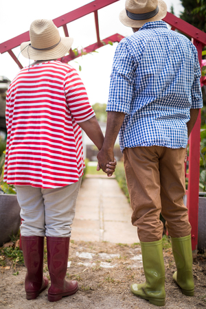 Full length of senior couple holding hands while standing in yard Stock Photo