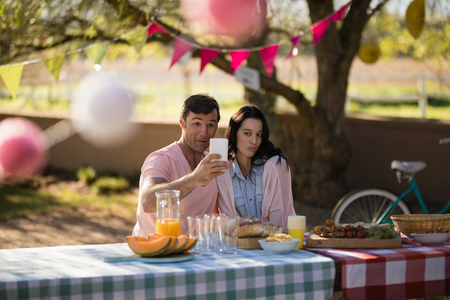 Smiling couple taking selfie on mobile phone in park Stock Photo
