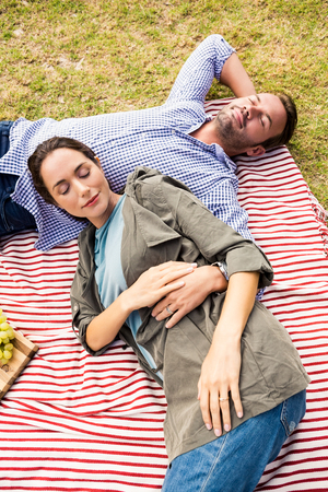 High angle view of young couple relaxing on picnic blanket at lawn