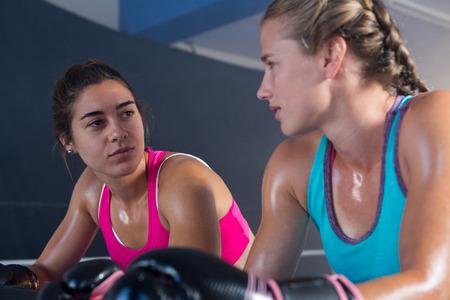 권투 반지에 서로보고 여성 권투 선수의 낮은 각도보기