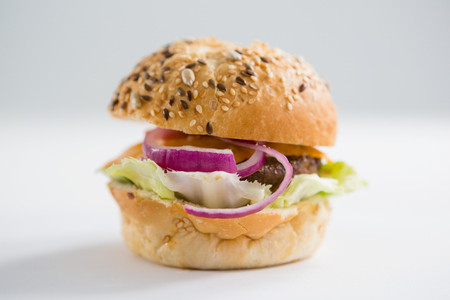 box size: Close up of hamburger with black sesame seed on  table
