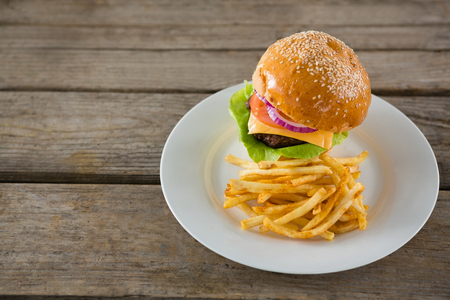 High angle view of burger with French fries served in plate on wooden table