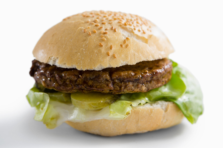 Close up of hamburger with leaf vegetable against white backgrund