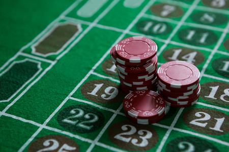 High angle view of chips on roulette table Stock Photo