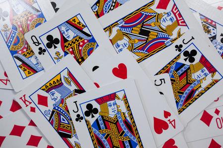 Close-up van verschillende speelkaarten Stockfoto