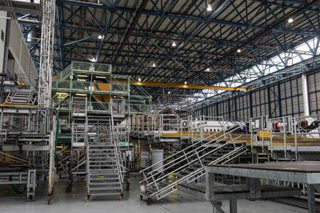 empty warehouse: Empty aircraft maintenance platforms at airlines maintenance facility