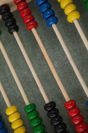 Close-up of abacus on chalkboard