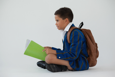 Attentive schoolboy holding book against white background