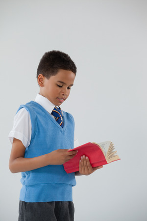 Attentive schoolboy reading book against white background Stock Photo